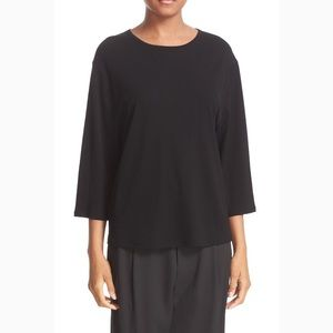 Vince Top Cotton Knit Wide 3/4 Sleeve Oversized